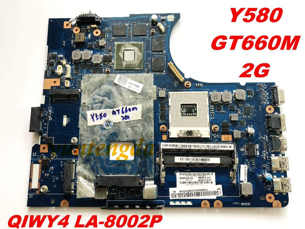 Original For Lenovo Y580 Laptop Motherboard Y580  QIWY4  LA-8002P  GT660M  2GB  Tested Good Free Shipping Connectors