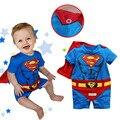 2015 roupa do bebé Batman macacão de algodão do bebê menina Rompers Superman meninos roupas de bebê recém-nascido de manga curta