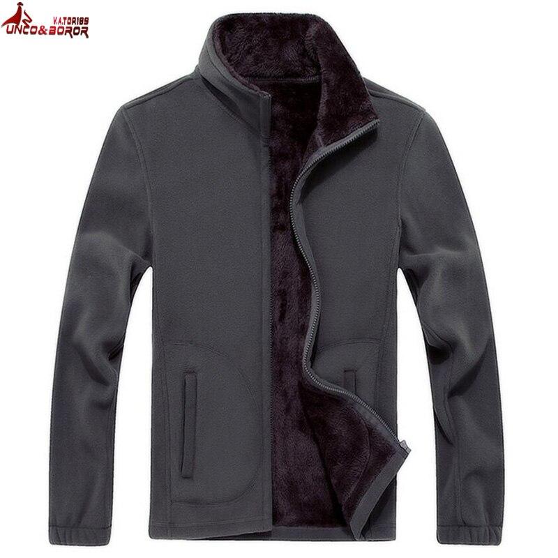 UNCO y BOROR hombre Softshell de lana Casual chaquetas de los hombres sudadera caliente térmico abrigos de lana bombardero táctico Chaqueta talla XL ~ 8XL