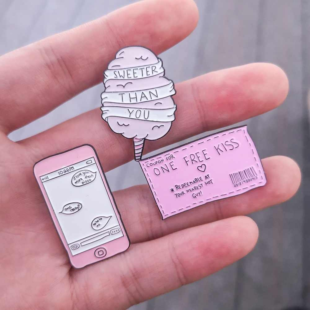 Pink Cartoon Collection Cotton Candy Sweeter Than You Free Kiss Ticket  Message Badge Enamel Brooches Lapel Pins Gift For Lover