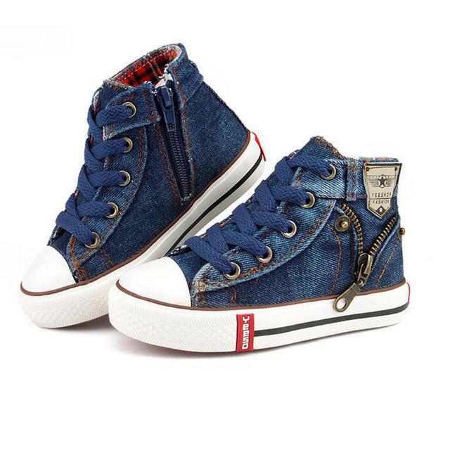 Crianças Sapatos 2016 Nova Primavera Outono Calçados Casuais Das Sapatilhas Das Meninas Dos Meninos da Criança Calça Jeans Denim Zíper Lateral Sapatos Sapatos de Lona Respirável