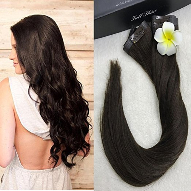 Full Shine 2016 Fashion High Quality Color #1B Tape Clip in Hair Extensions 14 to 24 Brazilian Human hair 8Pcs Pu Clip Ins