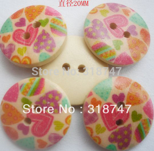 6pcs/24pcs Dia.20MM  Sewing Button Coloured Drawing Pattern Wood Buttons Garment Accessories 13012071