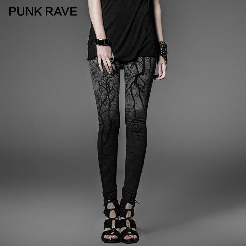 PUNK RAVE noir gothique sombre forêt 3D impression serré femmes femme Slim Stretch tricoté Capris taille haute pantalon