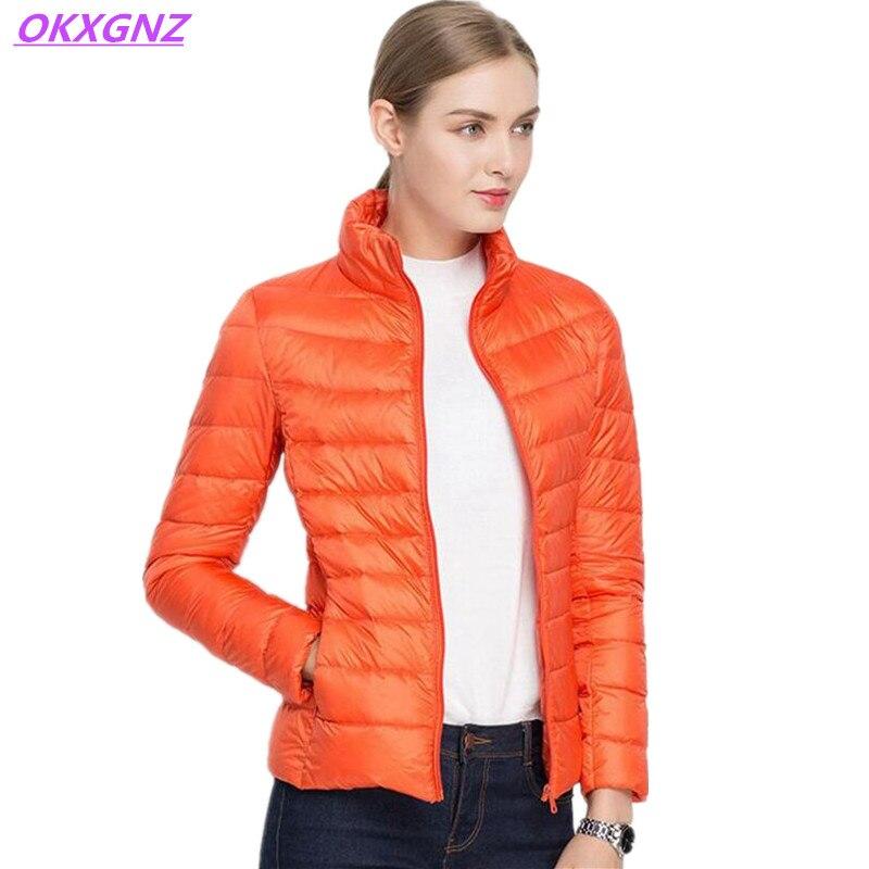 ФОТО OKXGNZ 2017 autumn/winter New Women Coat Pure Color Collar Thin Light Short Eiderdown Cotton Coat Slim Big Yards Warm Coat AH001