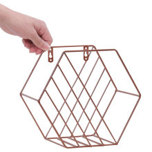 Hexagon Grid Floating Shelf Wrought Iron Wall-Mounted Storage Iron Basket Rack For Flower Pots Toys Modern Nordic(China)