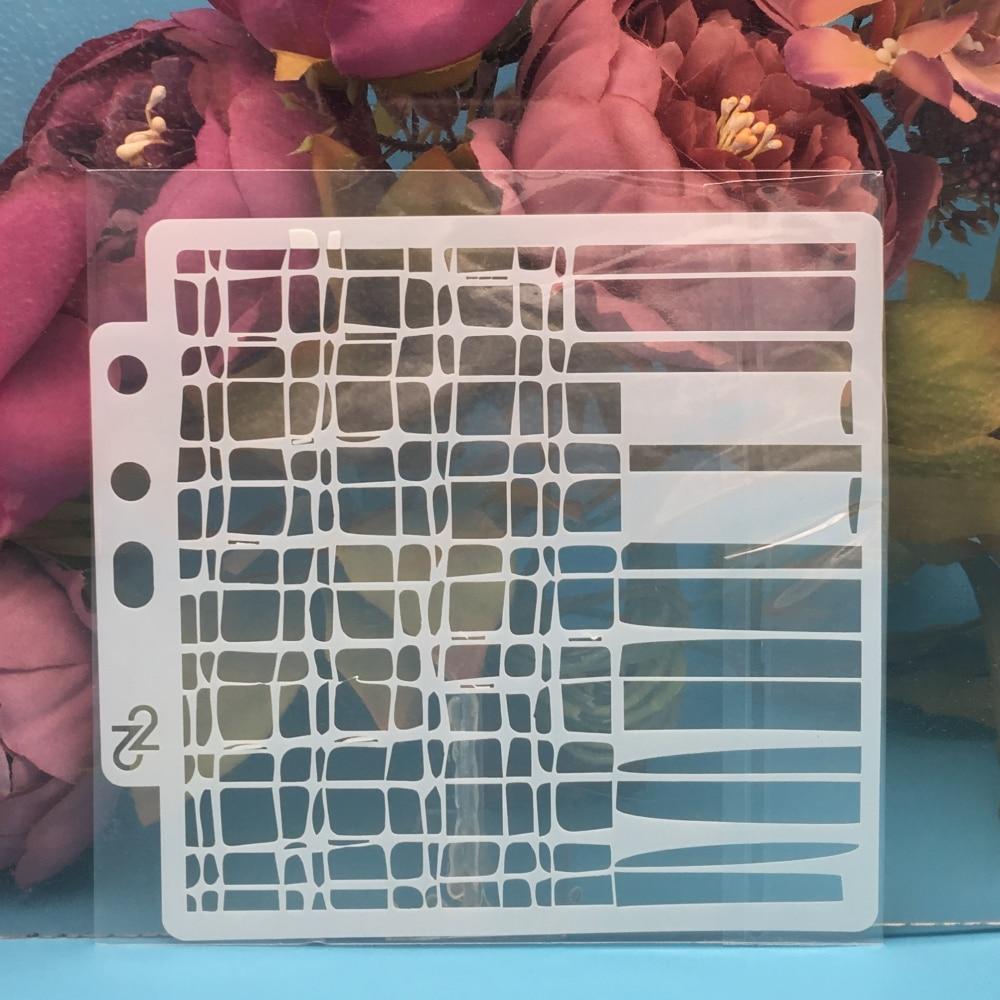 1Pcs 13cm Mesh Grid Net DIY Layering Stencils Wall Painting Scrapbook Coloring Embossing Album Decorative Paper Card Template