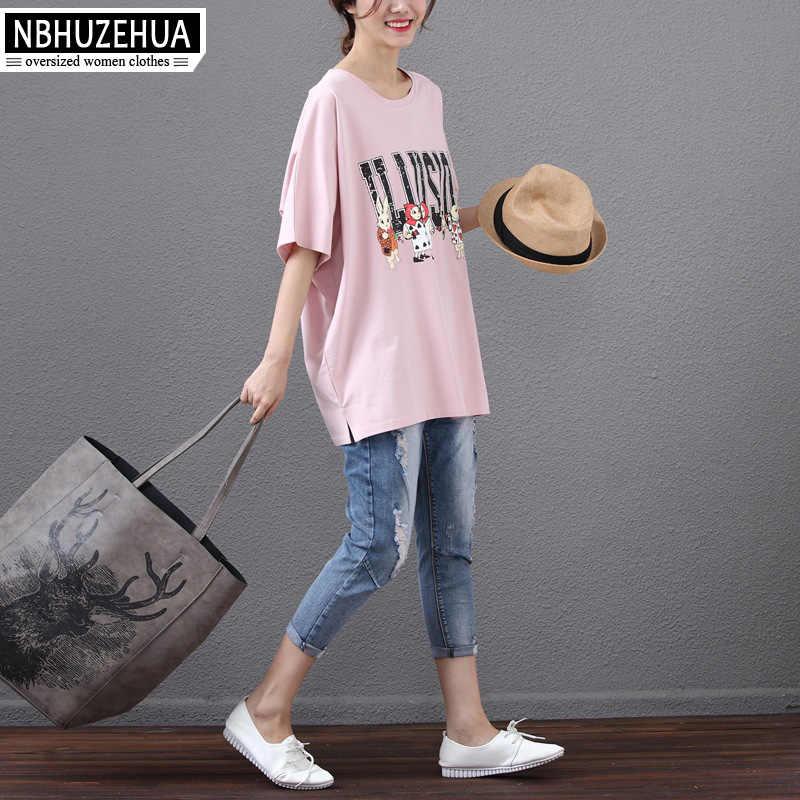 27784cba0b ... NBHUZEHUA 7G586 4XL 5XL 6XL Tee Shirt Women's Kawaii T-Shirt Korean  Casual Cartoon Print ...