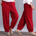 Women vintage art leisure wide leg pants loose Cotton Linen pants all-match female linen trousers  KZ-9-41