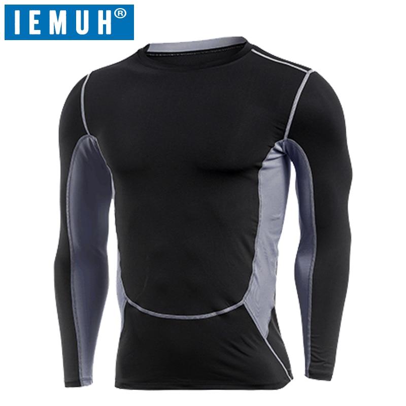 IEMUH Bran'd Sport T Shirts Men Running Shirt Men Gym Training Tops Sportswear Tshirt Workout Fitness Compression Shirt