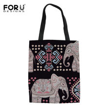 FORUDESIGNS Ethnic Traditional Style Shopping Bags for Ladies Animal Elephant Print Folding Eco Bag Women Multifunction Handbags(China)