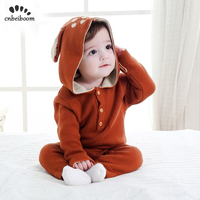 2019 Sweater rompers baby boy girls knit two layer windproof newborn infant jumpsuit long sleeve winter outerwear Animal clothes