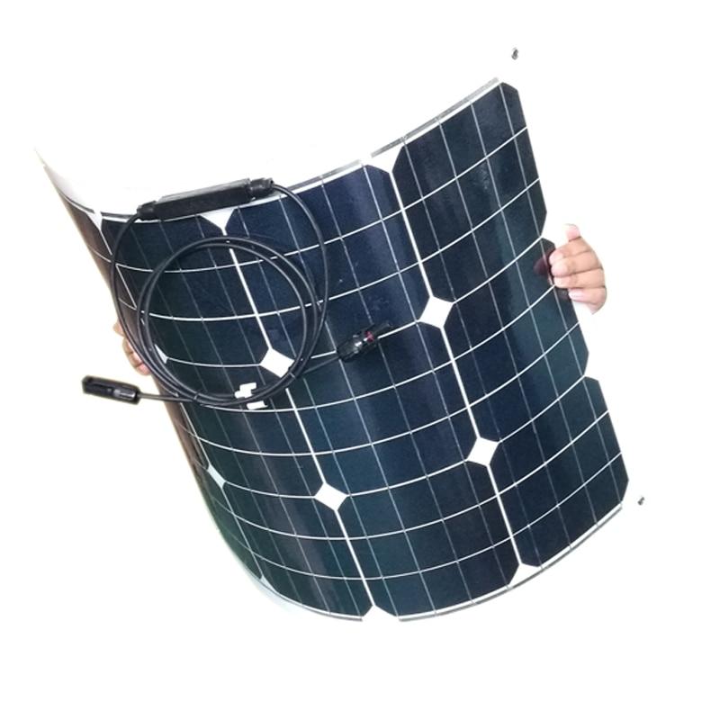 Imperméable à l'eau Placa solaire 12 v 55 w 5 pièces solaire chargeur de batterie système solaire hors réseau 255 w téléphone lumière LED voiture camping caravane bateau