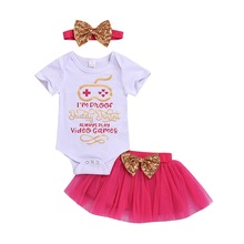 Summer Baby Girl Casual Set Short Sleeve Letter Print Sequins Romper Tops Mesh Skirt And Bowknot Headband Outfits цены онлайн