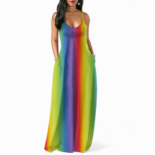 Bohemian Floor Length Dress Rainbow Dress New Spaghetti Strap Sleeveless V Neck Loose Long Dress with Pocket for Women Plus Size недорого