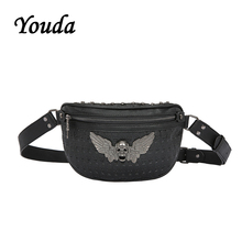 Youda Original Fashion Personality Rivet Casual Shoulder Bags Locomotive Style Mens Chest Bag Street Cool Girls Waist Pack