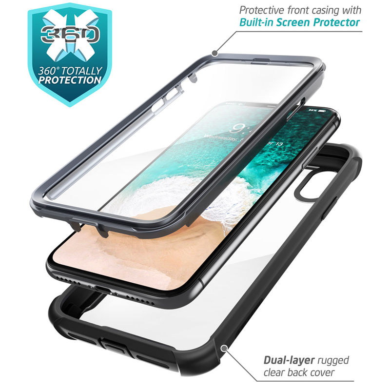 Image 2 - For iphone X Xs Case 5.8 inch Original i Blason Ares Series Full Body Rugged Clear Bumper Case with Built in Screen ProtectorFitted Cases   -