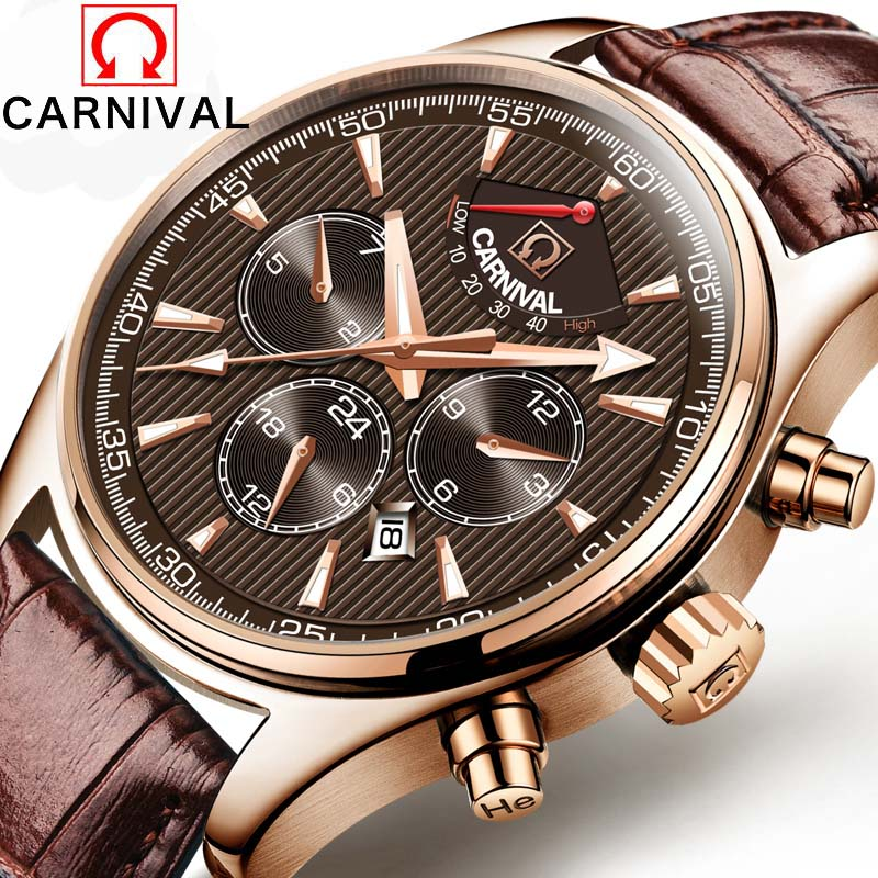 Carnival Luxury Brand Men Watches Vintage Automatic Mechanical Watch Calendar clock Military WristWatches leather Strap Relogio цена и фото