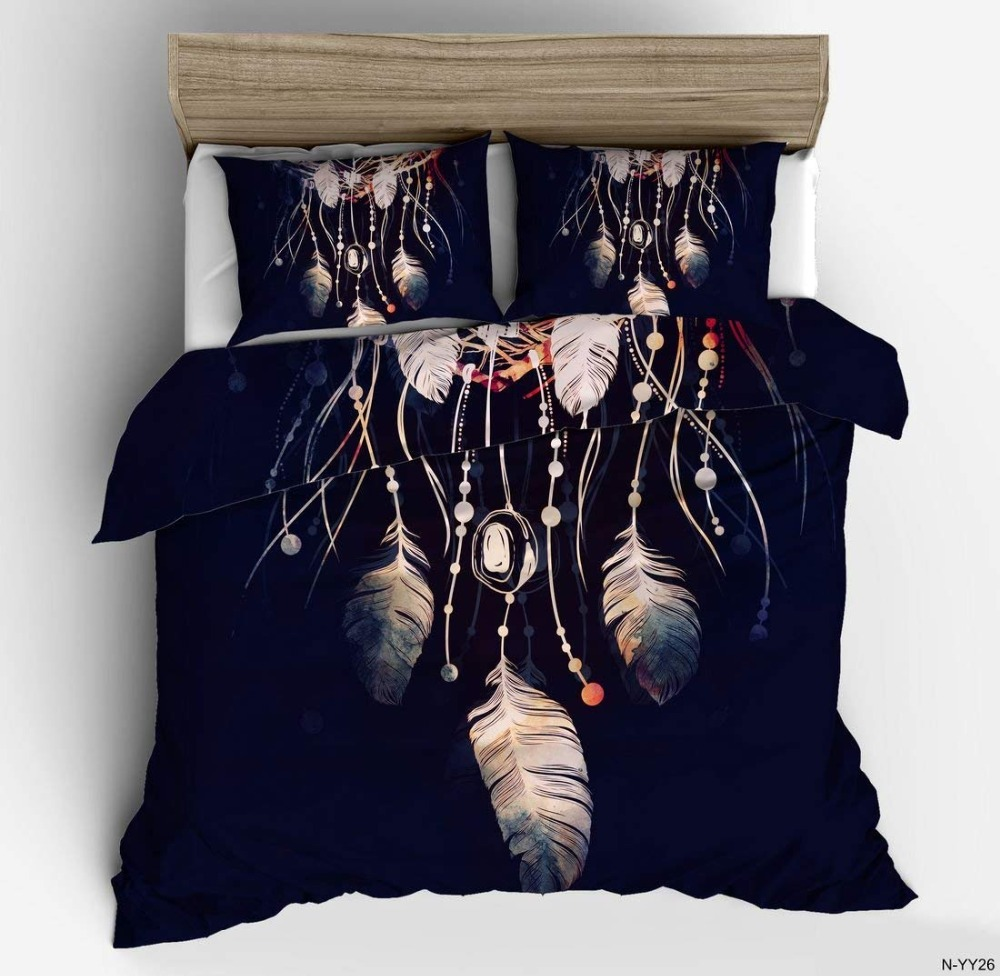 Pillowcase+Quilt Cover Bedding Set  Dream Catcher Feathers Print Bedclothes