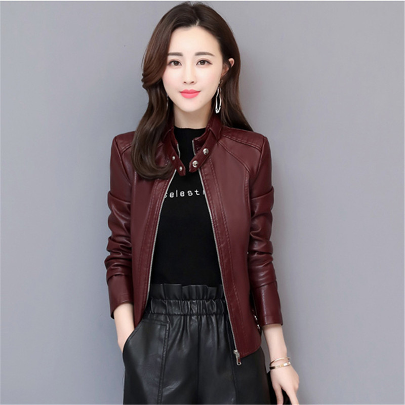 Women Locomotive Pu   Leather   Jacket 2019 Spring Autumn New Fashion Short Coats Slim Solid color Large size Female Outerwear N741