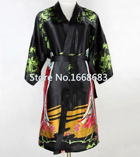 Сексуальное черное китайских женщин шелковый короткий халат старинные ночная Sleepwear кимоно ванна платье Pijamas Большой размер sml XL XXL XXXL NR035