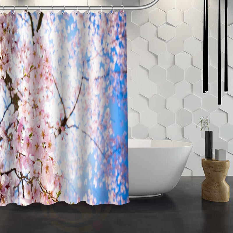 Aliexpress.com : Buy Hot Sale Custom Cherry Blossom Flower Shower Curtain  Waterproof Fabric Shower Curtain For Bathroom F#Y1 17 From Reliable Curtains  ...
