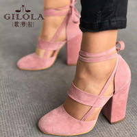 Fashion High Heels Women Pumps Platform Women Shoes Lace Up Shoes Woman Best Quality Thin Heels