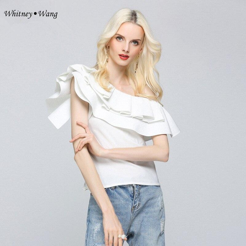 D'été Sexy Skew Wang 2018 Lady Blouse De Streetwear Whitney Shirt Blusas Tops Femmes Ruches Office Mode Col qAFTwgYE