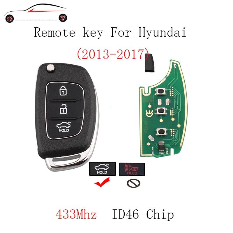 Gorbin 433 mhz chave remota para hyundai ix35 ix25 ix45 elantra santa fe 2013 2014 2015 2016 2017 original chave transponder chip id46