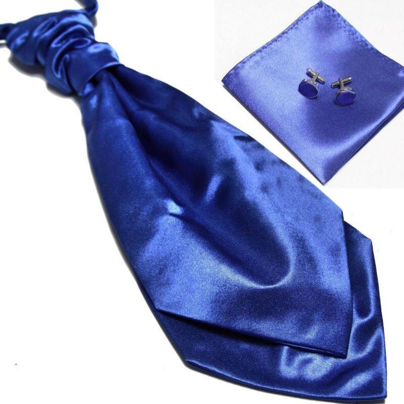 HOOYI 2018 new mens neck tie set Hanky cufflinks cravate ascot neckwear blue neckcloth Pocket square