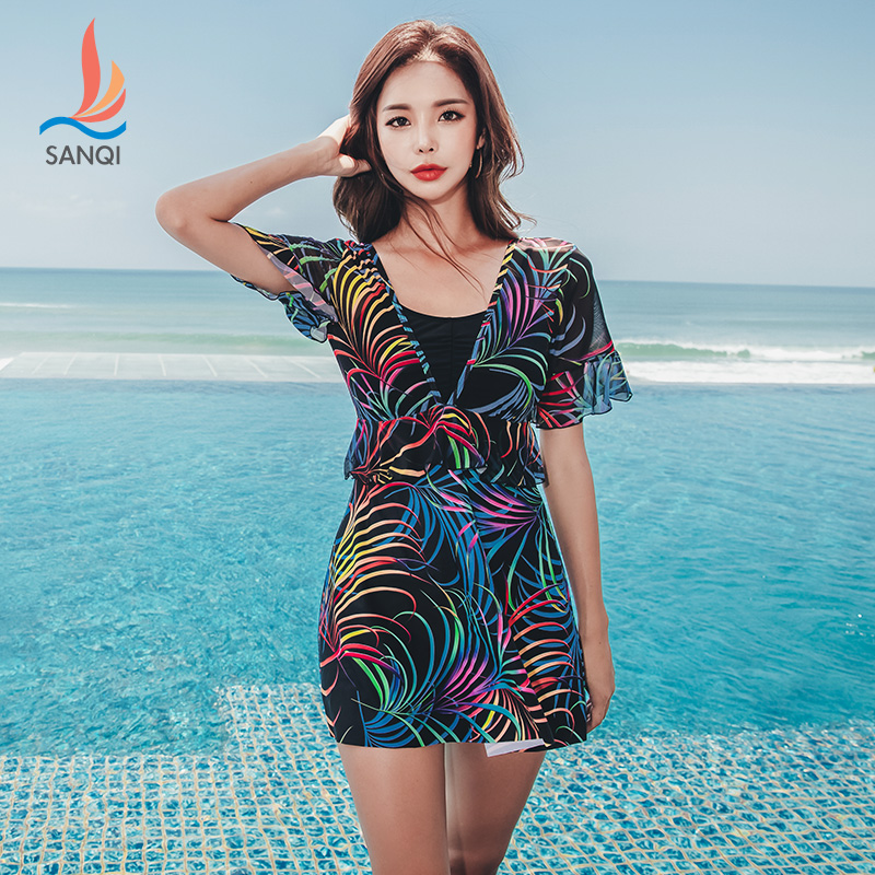 44fa6cc434 Detail Feedback Questions about SANQi female swimwear skirt type piece sexy  small chest gathered steel plate thin covered belly large size hot spring  ...