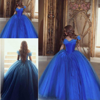 Newest Cinderella Ball Gown Quinceanera Dresses Off the Shoulder Puffy Tulle Beads Long Prom Dresses Sweet 16 Dresses Lace up Fl