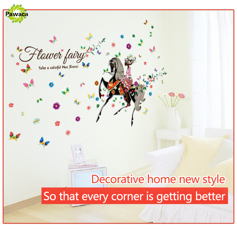 popular butterfly flower girl buy cheap butterfly flower girl lots sweety living room wall stick decoration flower fairy girl butterfly diy wall sticker art decals mural