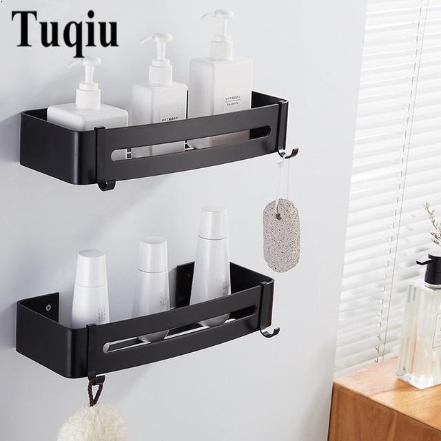 Bathroom Shelves Aluminum Alloy 2 Tiers Corner Shelf Shower Caddy Storage Shampoo Basket Wall Kitchen Corner Sticky Holder