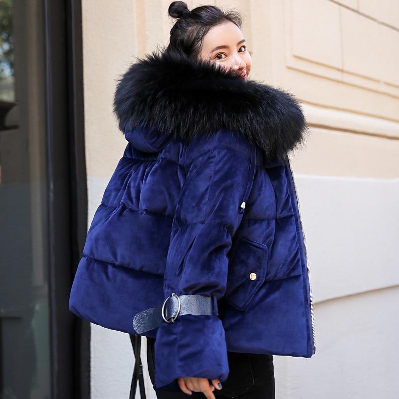 2019 New Design Velvet Winter Jacket Women Ladies Sweet Hooded With Fur Collar Female Short   Parka   Coat Mujer Invierno
