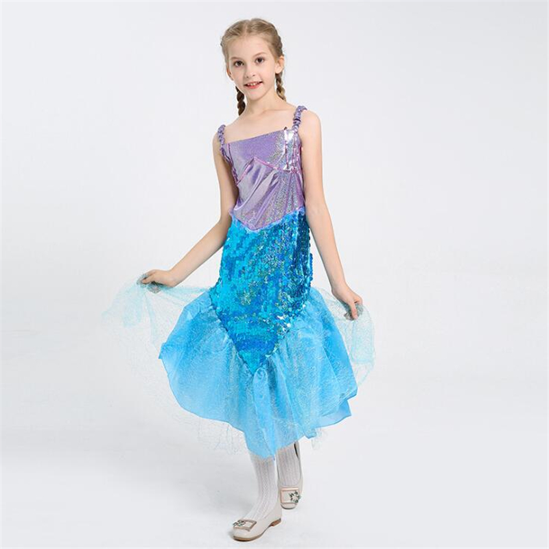 2018 Kids Mermaid Princess Costume Halloween Girls Cosplay Clothing