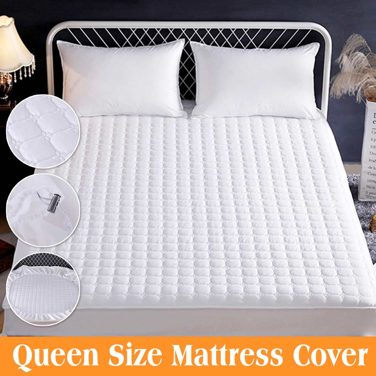 Large Queen Size Mattress Pad Cover Topper Protector Quilted Fitted Prevent Bacteria For Home Hotel Bed Top Pad Mattress Cover