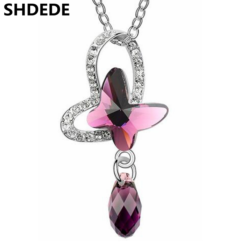 Woman Butterfly Necklace Crystal from Swarovski Fashion Jewelry Necklaces Pendants High Quality Gift 4642