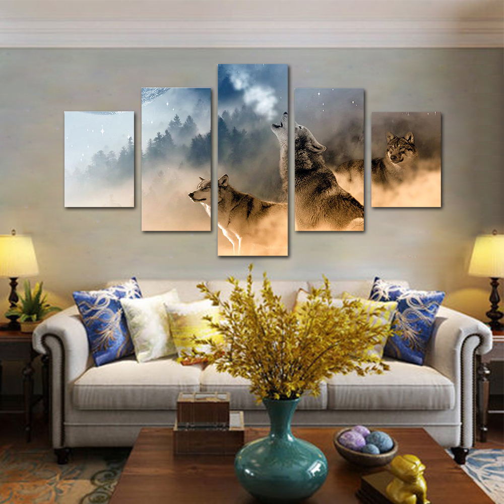 Unframed HD Print 5 Canvas Art Painting Howling Wolves Living Room Decoration Animal Spray Painting Mural Unframed