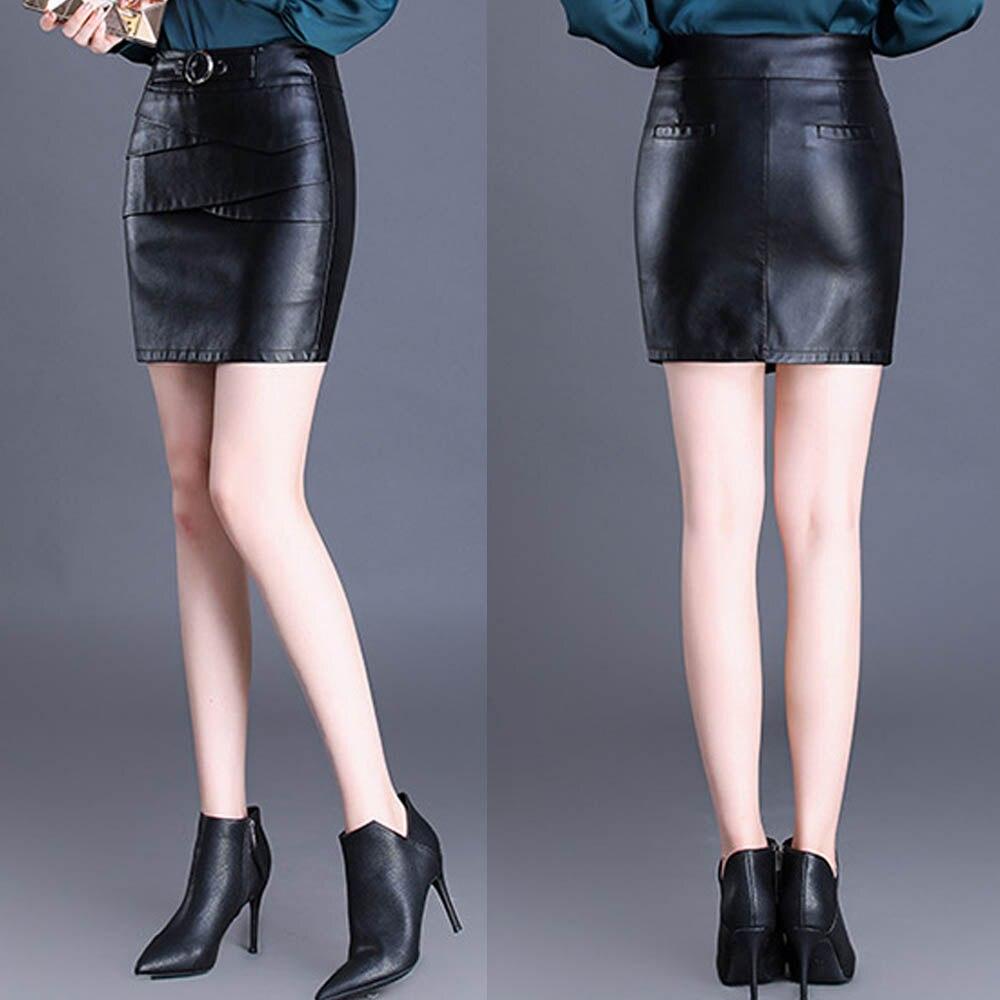 6f92aa5b3 4XL de talla grande de mujer de cintura alta falda de cadera falda de cuero  de imitación lápiz ...