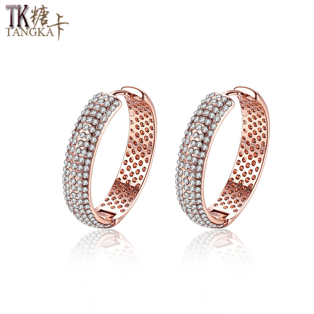 Tangka Genuine Luxury Ladies Inlaid Zircon Full Cover Rose Gold Earrings  Wholesale Highend Women's