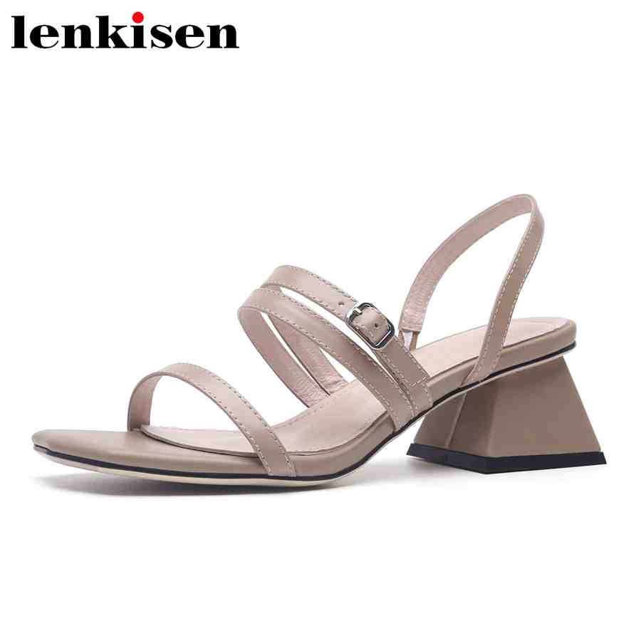 Lenkisen elegant lady full grain leather solid square peep toe slip on high heels shallow office career dress woman sandals L15
