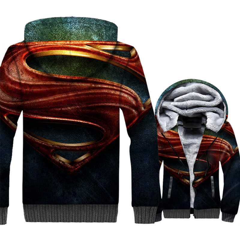 turn-down collar brand tracksuits new arrival Superman Super hero jackets coats men thick zipper 3D printed hooded hoodies 2018