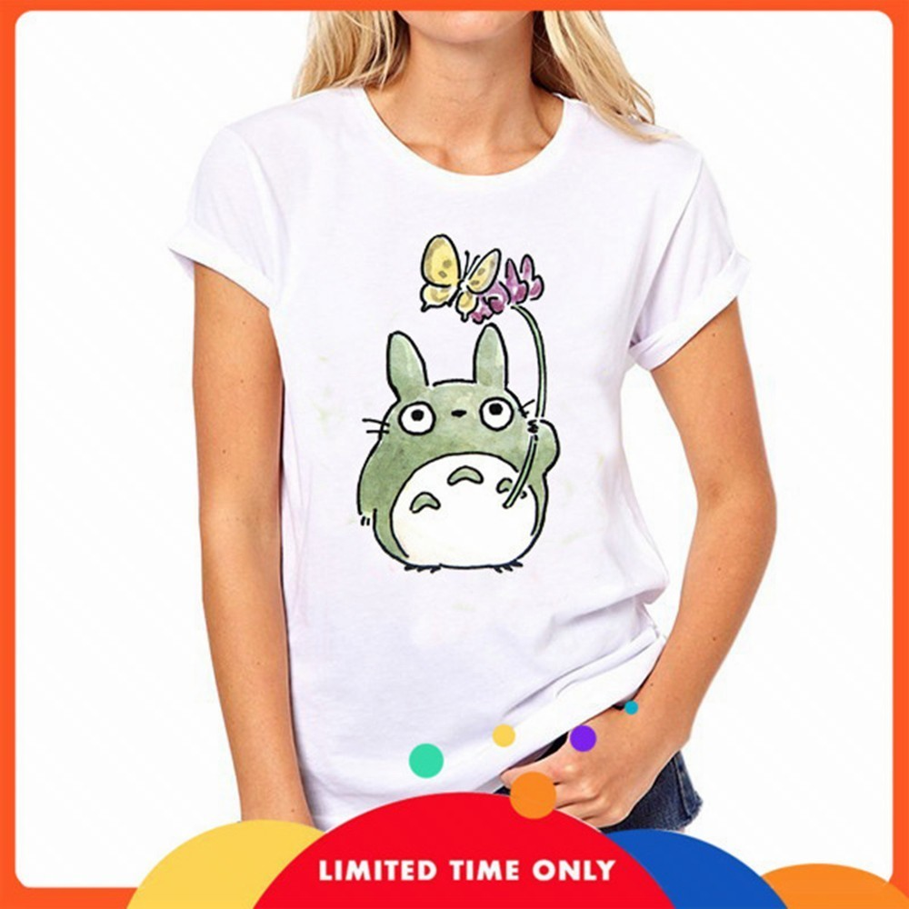 Cute Totoro Animal Print Women T Shirt Summer Female White Vogue Tshirt Japan Sweet Style Tops Streetwear Hipster Graphic Tees