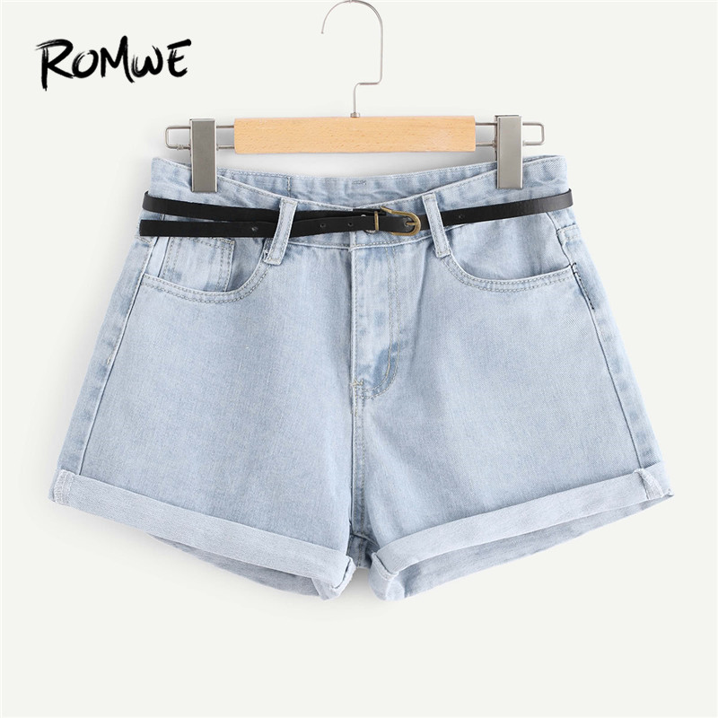 5e2102f734 ROMWE Roll Up Hem Denim Shorts With Belt Casual Blue Women Shorts 2018  Summer Mid Waist Button Fly Blue Ripped Shorts