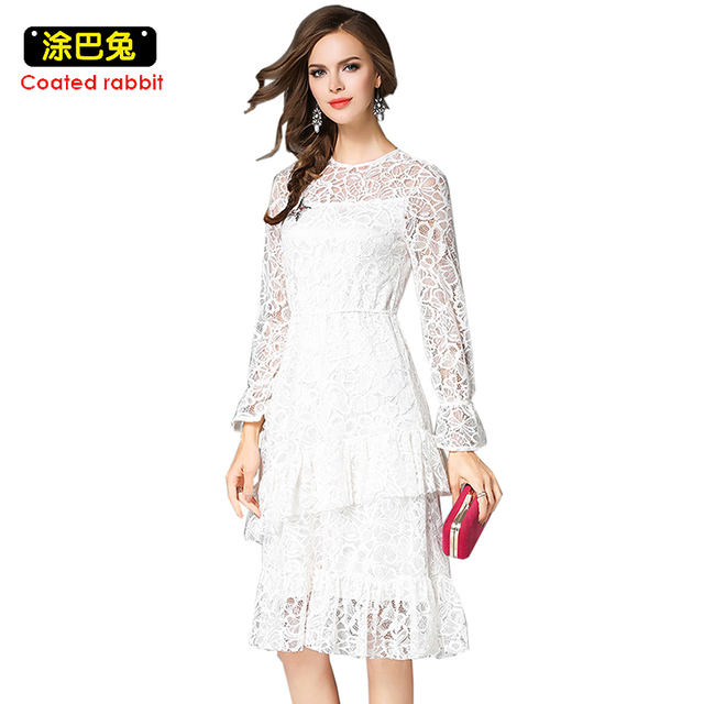 c577ba87d1b 2018 Bohemian Lace Dress Sping Long Sleeve High Waist White Cascading  Ruffle Slim Knee-Length Dresses Female Loose Slim 2XL