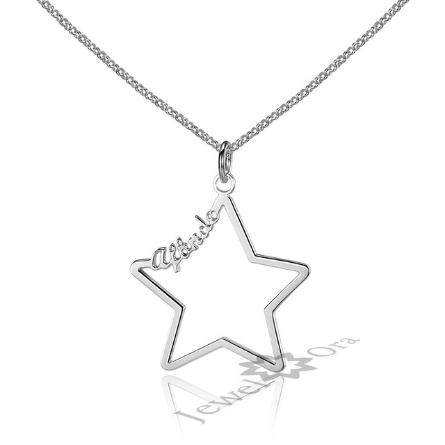 Personalized custom 5 point star necklace unique gift for her personalized custom 5 point star necklace unique gift for her handmade silver name necklace best friend aloadofball Choice Image