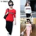 V-TREE Children's Clothing Set For Girls Long Seleeve T-shirt + Pants 2pcs/set In School Cotton Tracksuit For Girls In Spring