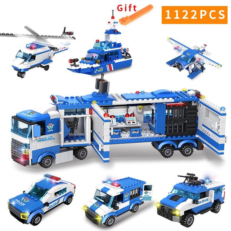 1122 pièces SWAT série Police de la ville blocs de construction véhicule hélicoptère ville Police Staction briques à monter soi-même Compatible avec LegoED bloc