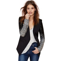 New Arrival Women Suit Style Patchwork Black Sequins Jackets Full Sleeve Plus Size Outwear Fashion Spring and Autumn Casual Coat